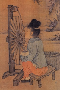 Wang Juzheng, The Spinning Wheel, in Fu Sinian, ed., Zhongguo meishu quanji, huihua pian 3: Liang Song huihua, shang.  Beijing: Wenwu chubanshe, 1988.  pl. 19, p. 34.  Collection of the National Palace Museum, Beijing. handscroll, ink and colors on silk, 26.1 x 69.2 cm